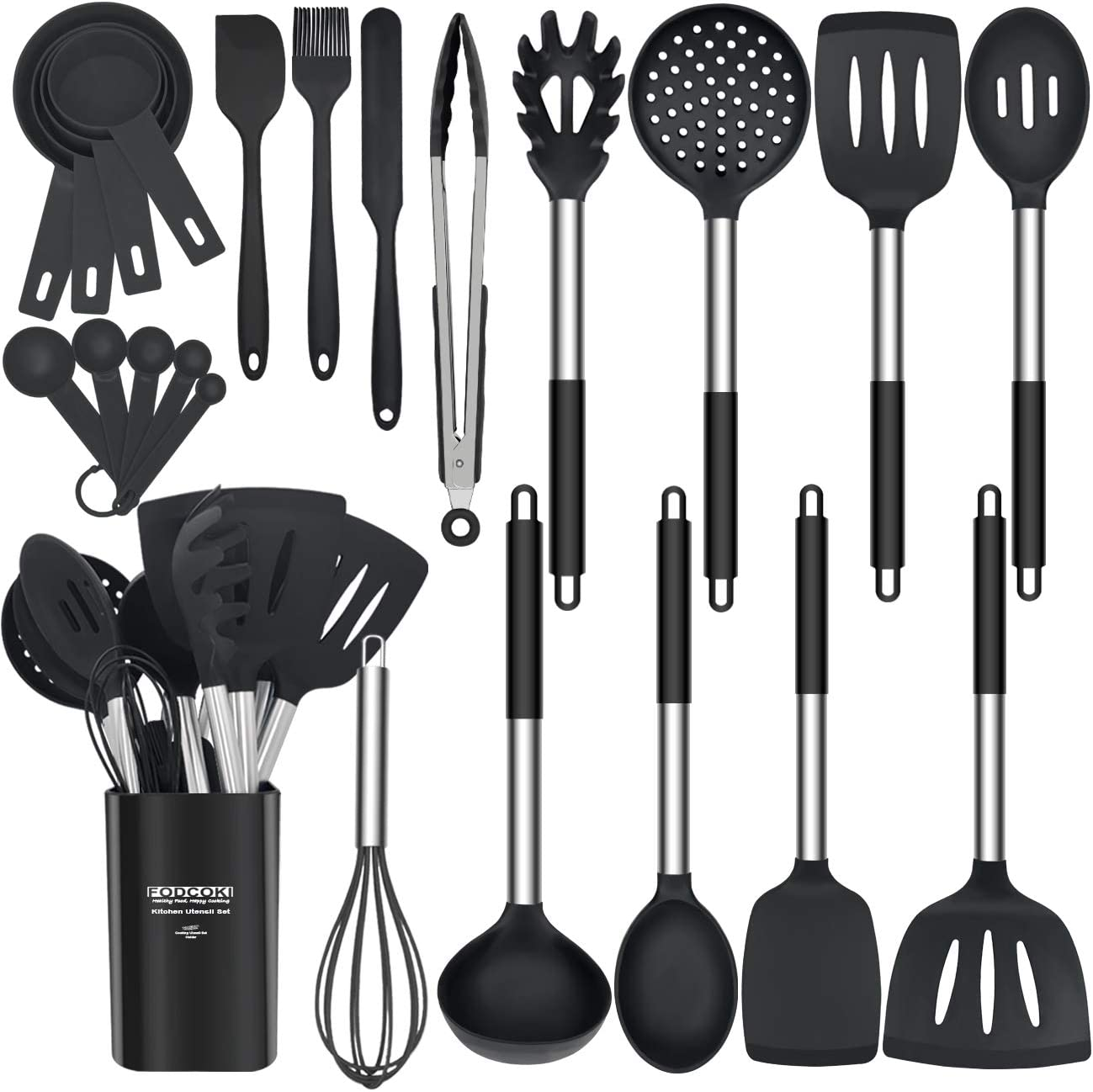 Silicone Cooking Utensils Set, 23pcs Kitchen Utensils Sets for Cooking with Stainless Steel Handle, Spatula, Measruing Tools, Holder, Non-stick Heat-Resistant Cookware Utensil by FODCOKI, Black