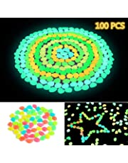 Solar Glowing Garden Pebbles, 100 Pcs Ohuhu Glow in The Dark Decorative Colorful Stone for Walkways & Decor, Luminous Stones for Plants Pot, Fish Tank
