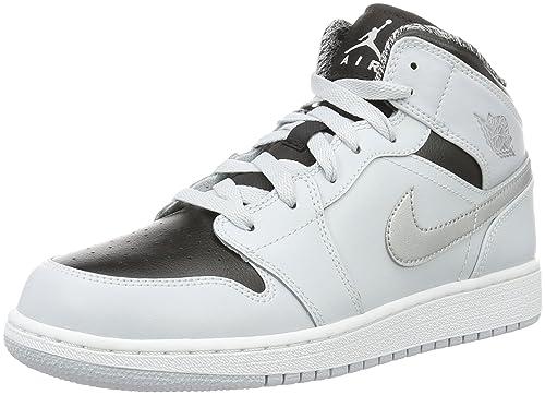 new product aaaa3 75333 Nike Air Jordan 1 Mid GS, Scarpe da Basket Bambino, Multicolore (Pr  Pltnm White Mtllc Slvr Blk), 39 EU  Amazon.it  Scarpe e borse