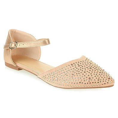 b401433cb13 AARZ LONDON Womens Ladies Diamante Evening Wedding Comfortable Casual Flat  Pink Sandals Shoes Size UK 3