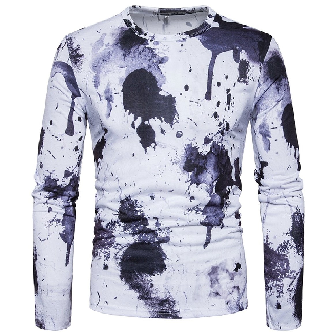 Tingwin Mens Comfy Long Sleeve Silm Fit Printed Splash-Ink Printed Pullover T-Shirt