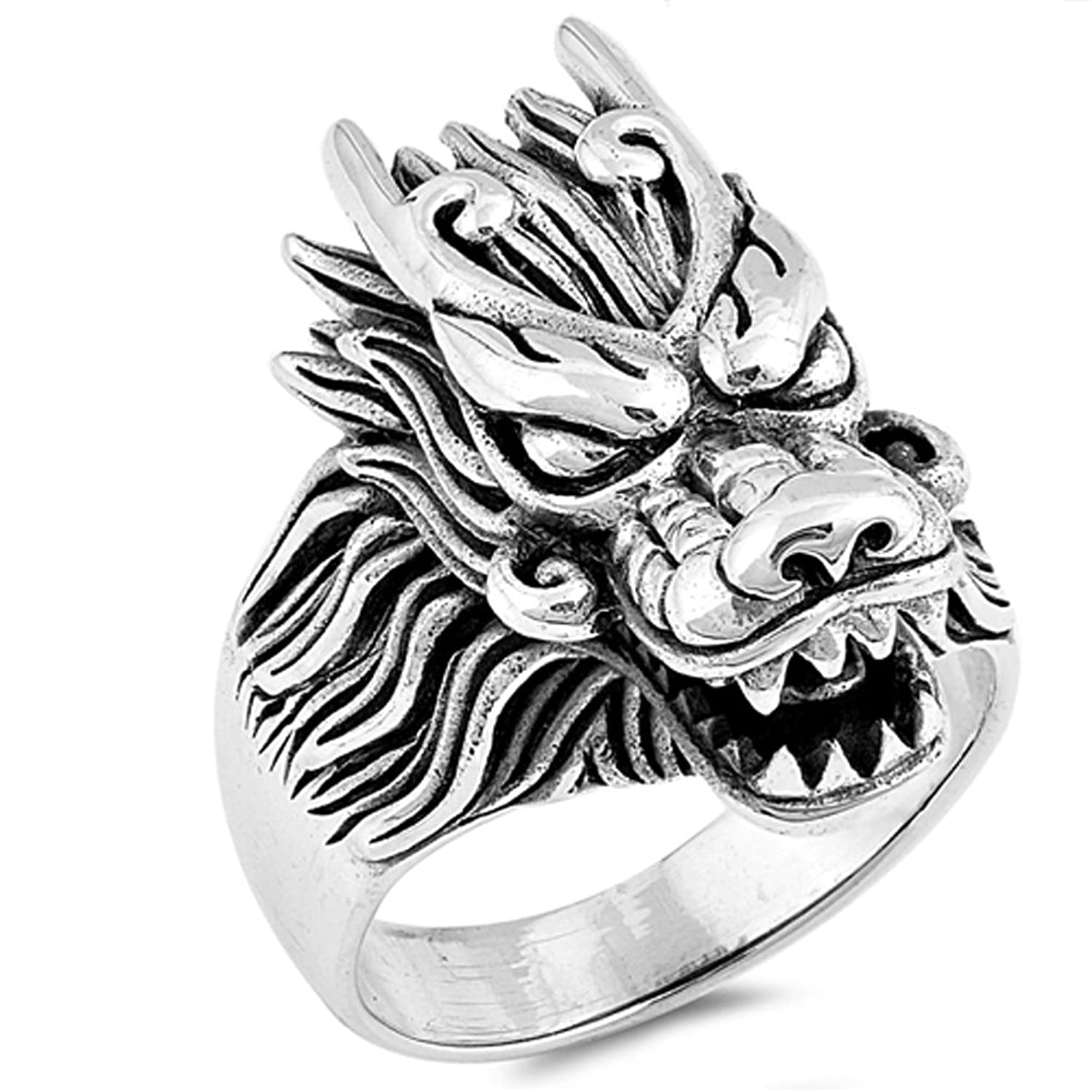 Dragon Large Heavy Men's Ring Sterling Silver Chinese New Year Band Sizes 7-13
