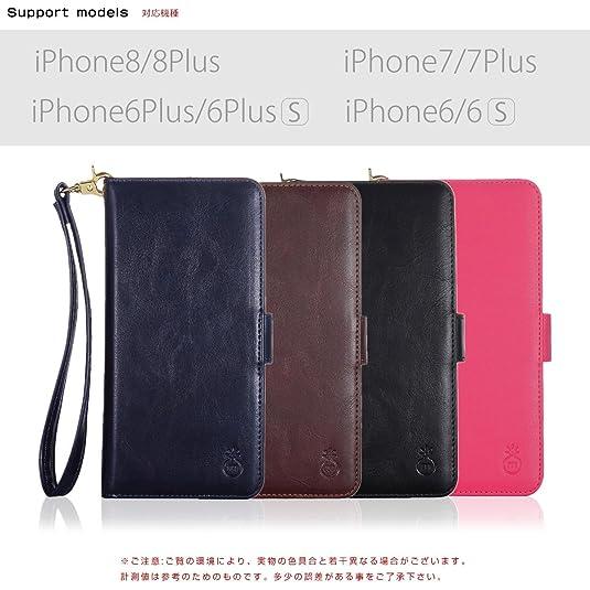 38d1cbb8a9 Amazon.co.jp: MINIBA iPhoneケース 最新型iPhone8 ケースカバー 手帳型 アイフォン8 牛革本革レザー ストラップ付き  横開き スマホケース カード収納: シューズ& ...