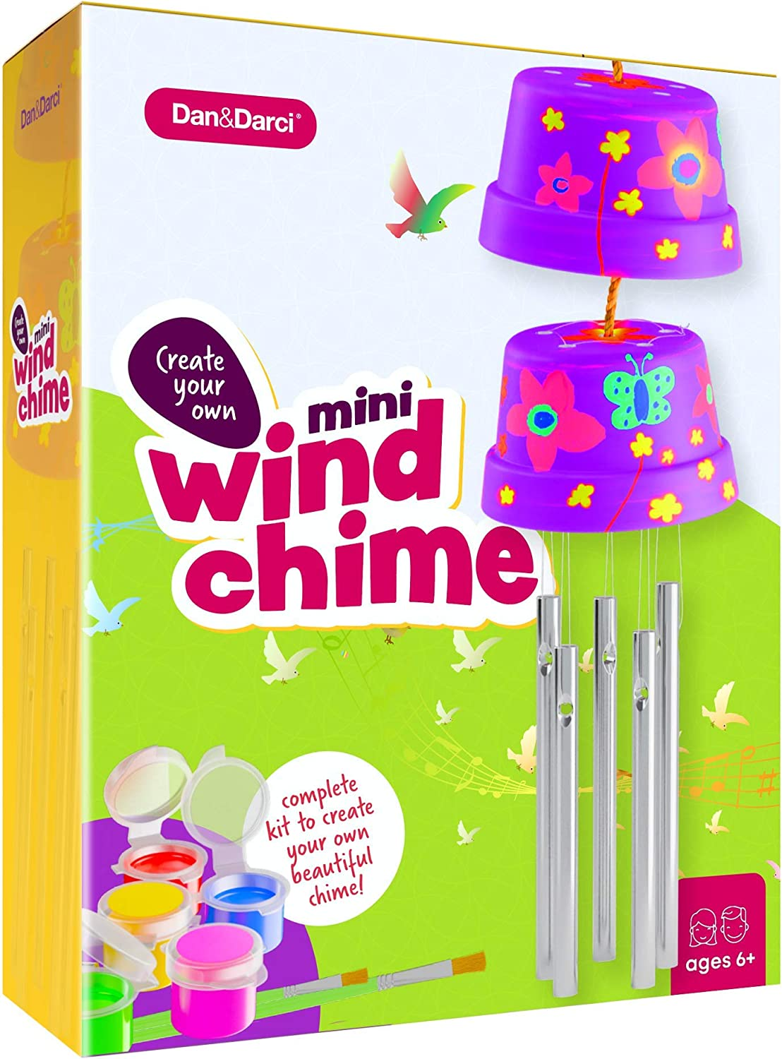 Create & Paint a Mini Wind Chime Making Kit - Arts and Crafts Gift for Girls & Boys Ages 4 5 6 7 8 9 10 -12 - Birthday & Christmas Gifts for Kids - Kid Art & Craft Kits - DIY Stuff for Girl Age 4-12