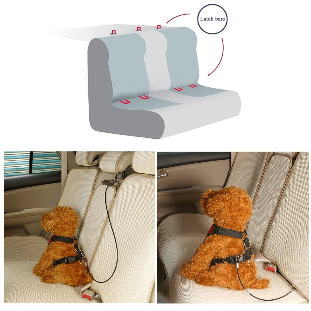 Mogoko Ceinture de s/écurit/é de voiture pour harnais de chien Rev/êtement en acier inoxydable R/ésistante aux morsures Double poign/ée Noir Disponible en 4/tailles