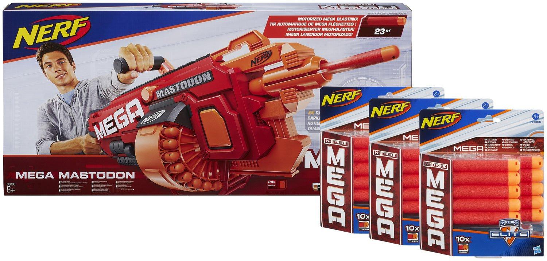 Nerf N-Strike Elite Mega Mastodon Ammo Booster Pack: Blaster plus 30 extra Darts