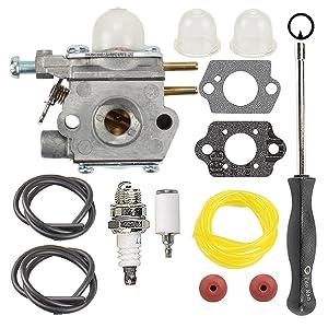 Hilom 753-06190 Carburetor with Fuel Line Filter Adjusting Tool for MTD Troy Bilt TB21EC TB22 TB22EC TB32EC TB42BC TB80EC TB2040XP String Trimmer WT-973 WT-1116 Carb