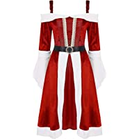 iixpin Disfraz de Navidad Mujer Vestido de Terciopelo Fuera del Hombro con Cinturón Vestido de Mamá Noel