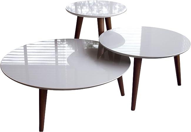 Manhattan Comfort Moore Modern Round End Table Set Off White Amazon De Kuche Haushalt