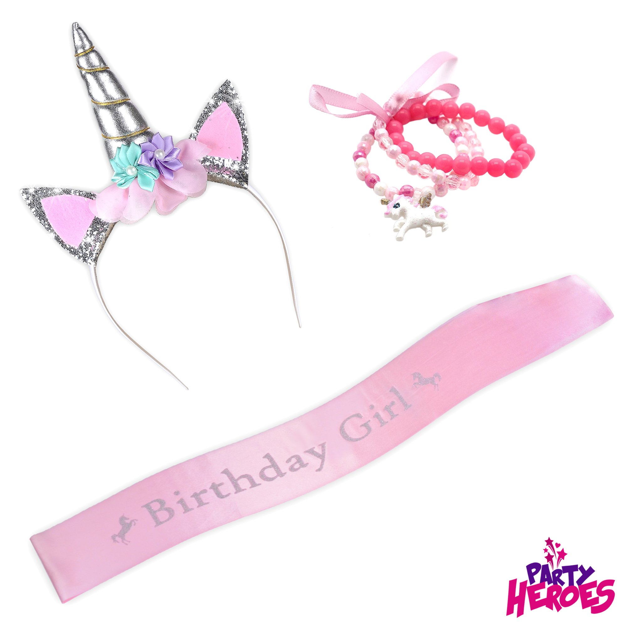 Unicorn Party Supplies Birthday Headband Set for Girls - w/Silver Glitter Headband and Pink Satin Birthday Girl's Sash - BONUS Pink Unicorn Bracelet - PERFECT Party Favors and Gifts - By Party Heroes