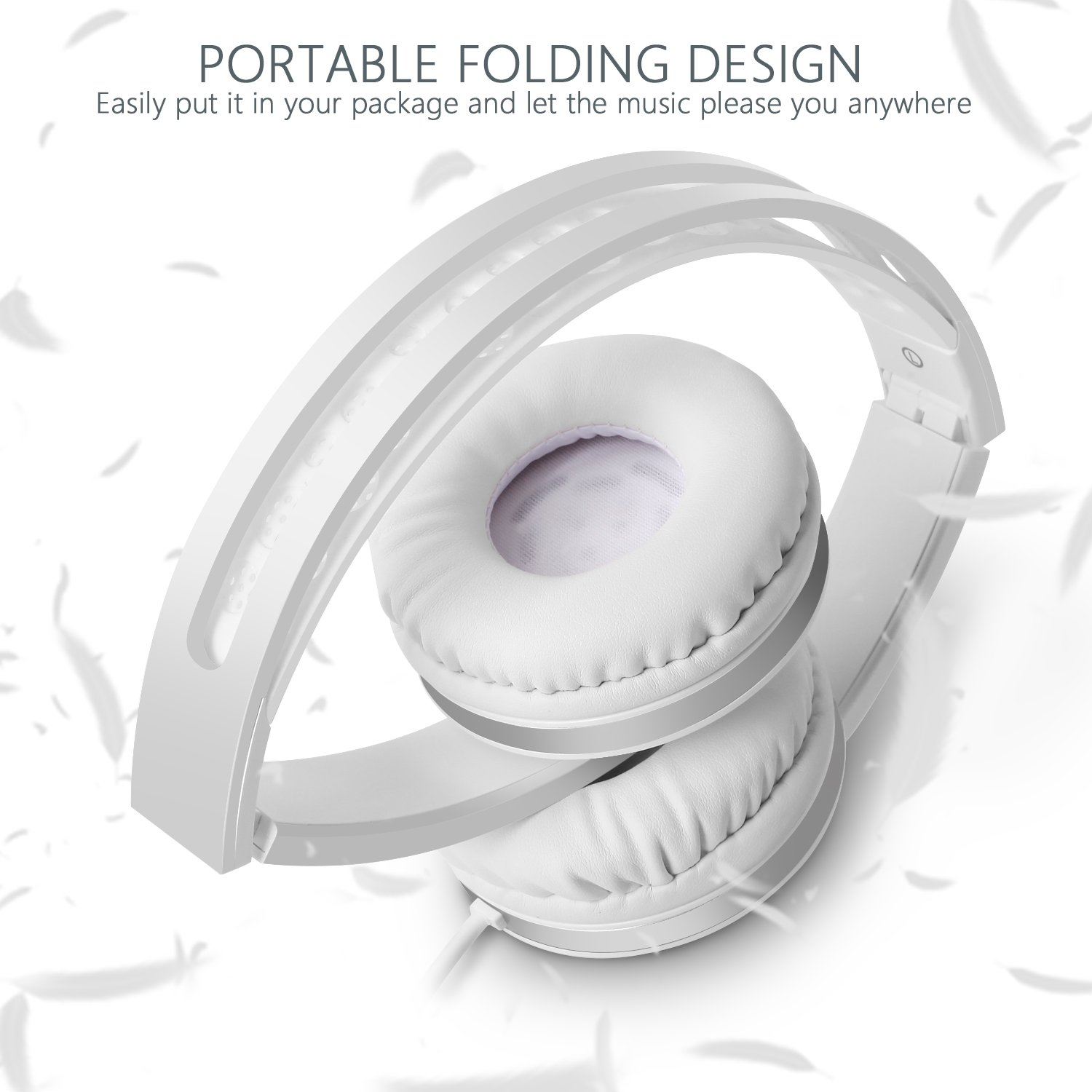 On Ear Headphones with Mic, Jelly Comb Foldable Corded Headphones Wired Headsets with Microphone, Volume Control for Cell Phone, Tablet, PC, Laptop, MP3/4, Video Game (White) by Jelly Comb (Image #2)
