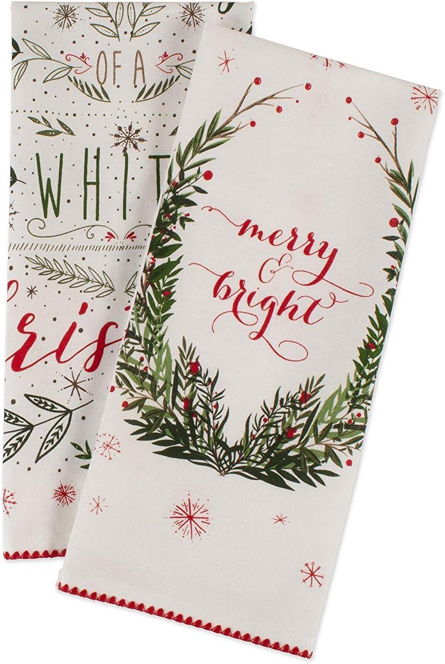 Set of 3 Details about  /Design Imports DII Assorted Vintage Print Christmas Dishtowels