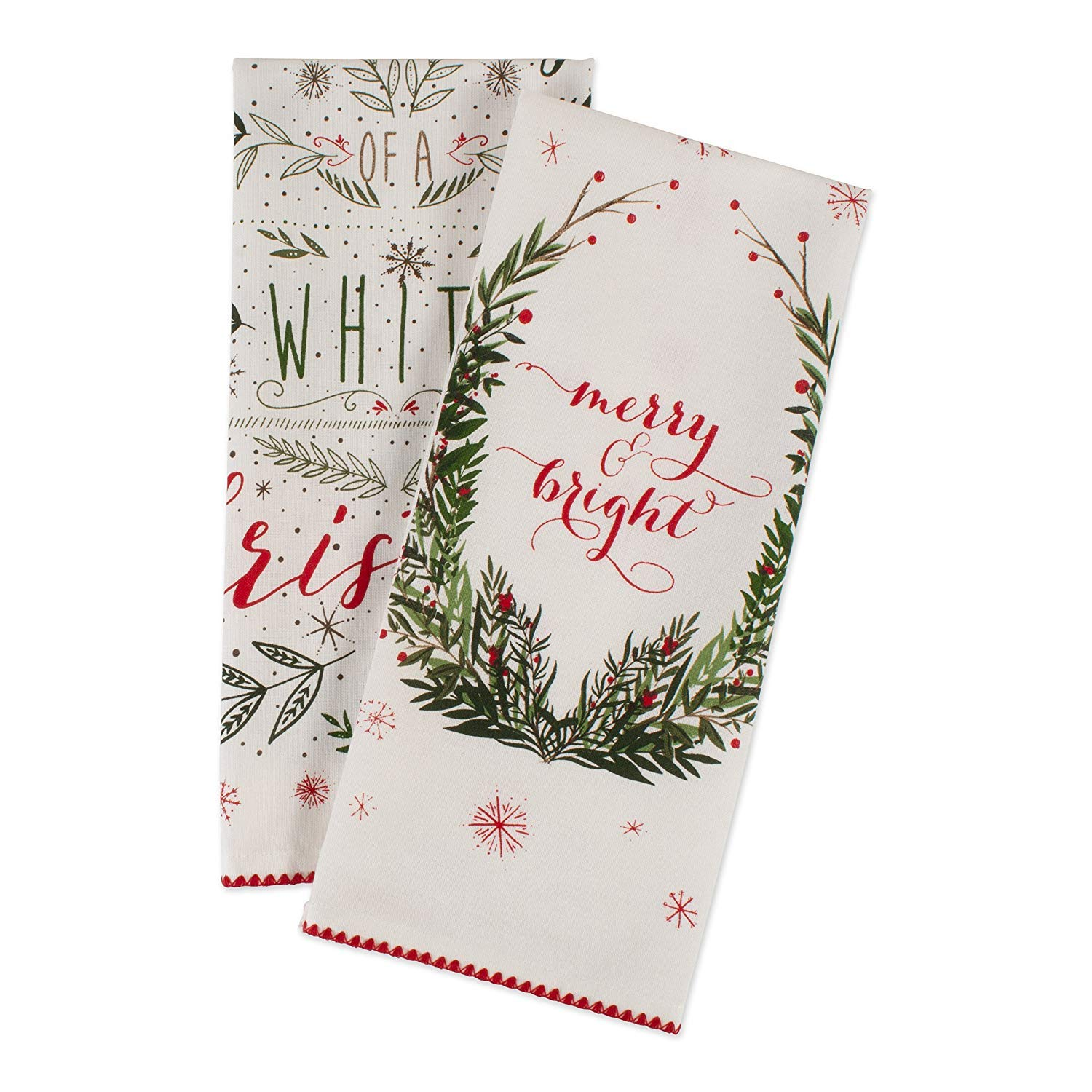Cotton Christmas Holiday Decorative Dish Towels, 18
