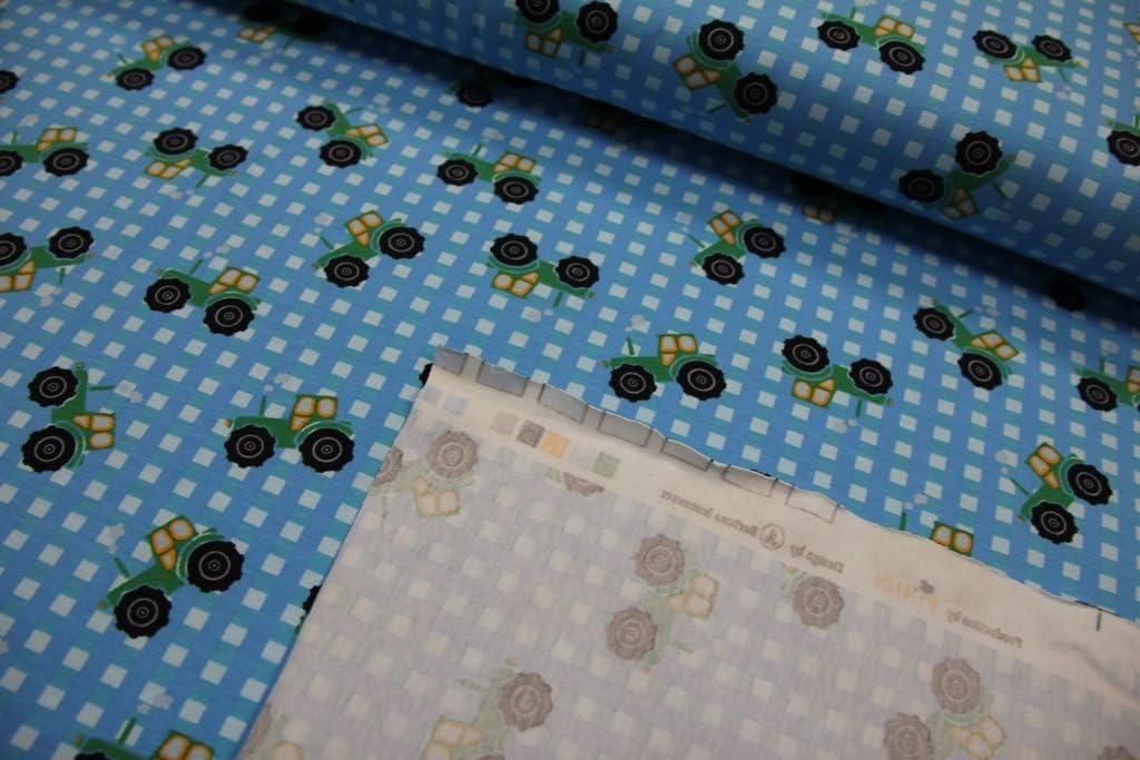 Tessuto//50/cmx140/cm//bambini//Beste Jersey di qualit/à//Jersey PINIDI trattore su azzurro a quadretti