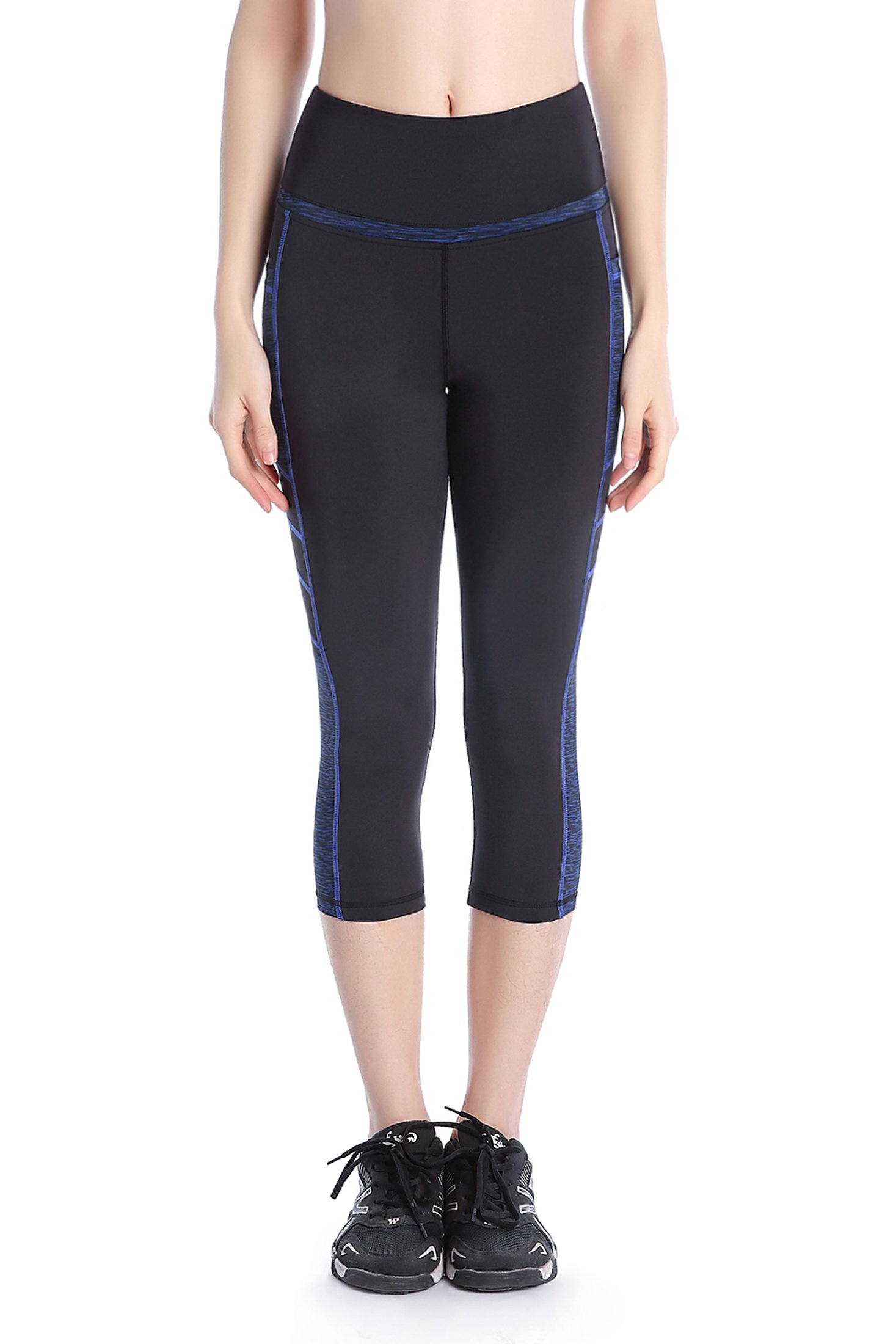 Picotee Women's Yoga Capri Pants Workout Running Pants Leggings High Waist with Pocket (M, Blue)