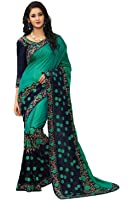 Online Fayda Women's Georgette Saree With Blouse Piece (Of295 ,Multicolor Free Size)