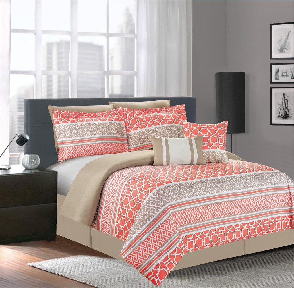 set california piece coral egyptian ctal and home king kitchen dp meridian contemporary elegant thread white bed reversible comforter count size cotton bedding