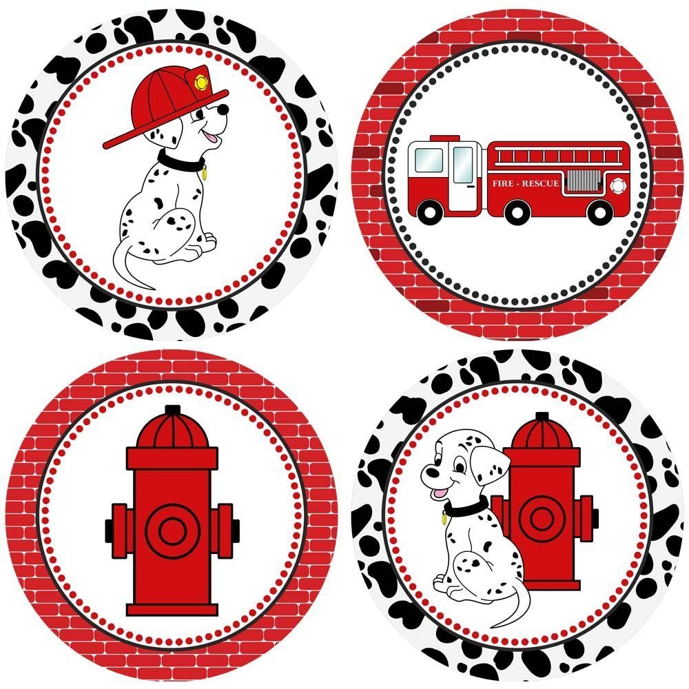Firefighter Sticker Labels - Fire Truck Dalmatian Dog Kids Boy Girl Party Favor Labels - Set of 50
