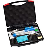 Vastar 16-in-1 60W 110V Adjustable Temperature Welding Soldering Iron with Desoldering Pump, 5pcs Different Tips, Stand, Anti-static Tweezers, Additional Solder Tube, and Carry Case