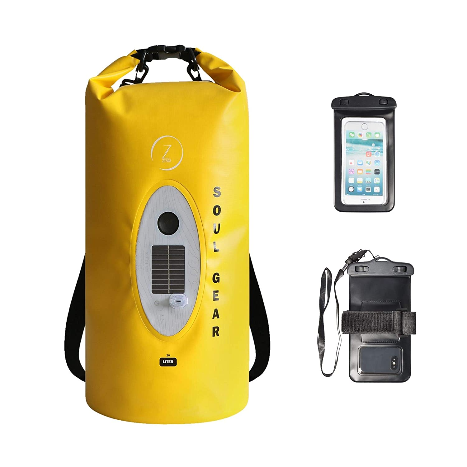 Z ZTARX Soul Gear Roll Top Dry Bag Backpack with Solar-Powered Wireless  Bluetooth Speaker & LED Light - Enjoy Music and Keep Personal Items  Protected
