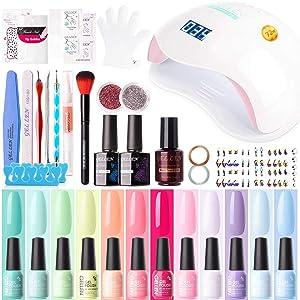 Gellen 12 Colors Gel Nail Polish Starter Kit - with 72W UV/LED Nail Lamp Top Base Coat, Essential Home Manicure Tools Popular DIY Nail Art Designs Matte/Glitters/Rhinestones, Colorful Rainbow