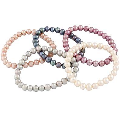 Bella Pearls Set of 5 Multi-Coloured Freshwater Pearl Elastic Bracelet of  Length 18 cm  Amazon.co.uk  Jewellery bdc3e7c99