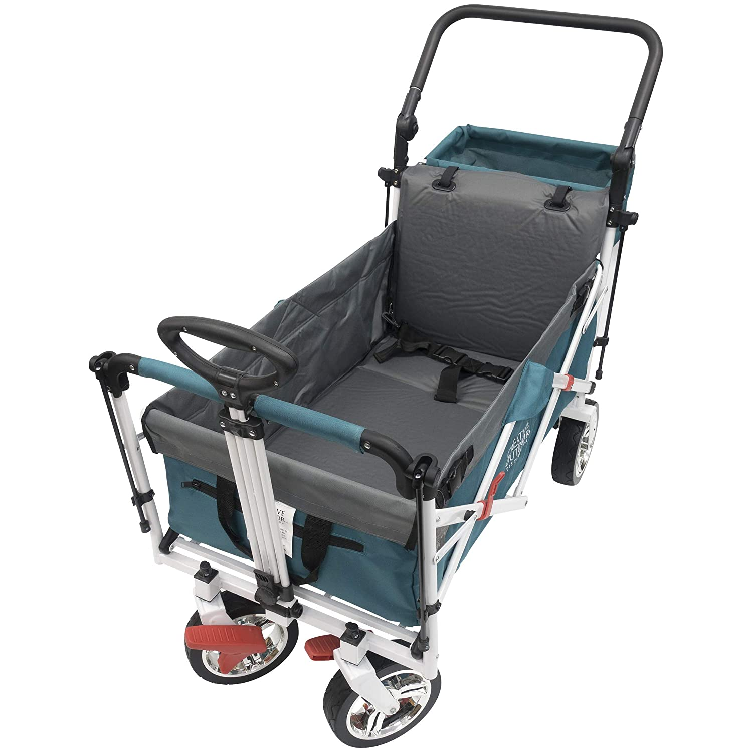 Creative Outdoor Push N Pull Wagon Accessory - Air Filled Seat Pad & Back Rest Wagons - Gray Creative Outdoor Distributors