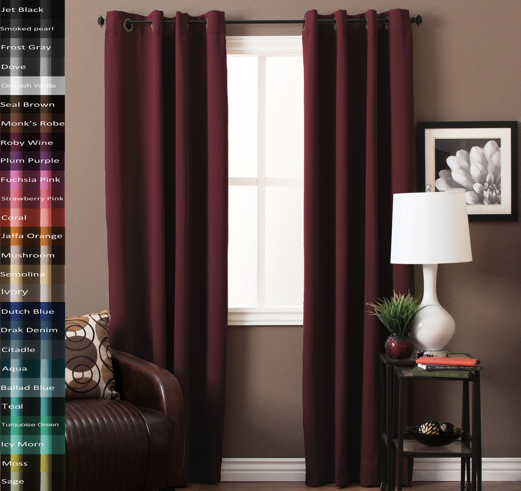 Solid Blackout Drapes, Roby Wine, Themal Insulated, Grommet/Eyelet Top, Living Room Curtains