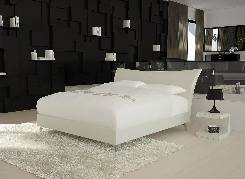 SAM® Design Boxspringbett Moove Glider 180 x 200 cm weiß mit 7-Zonen H3 Taschenfederkern-Matratze, gesteppten Viscoschaum-Topper, Memory-Effekt, Chrom-Füße, optimale Einstiegshöhe