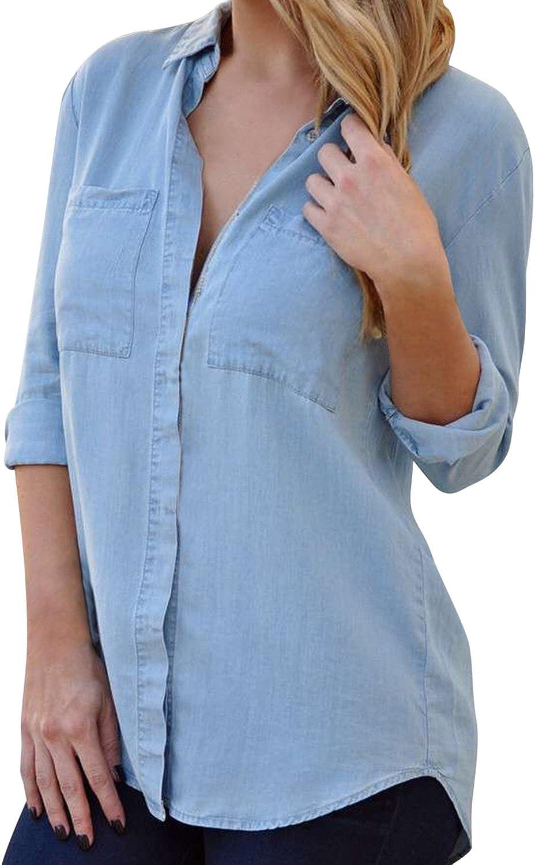 LAEMILIA Chemise Chemisier en Denim Femme Col Classique Manches Longues T Shirt Blouse Top Haut Casual Loose