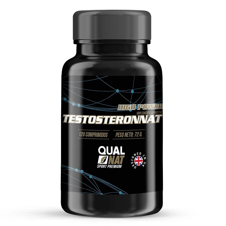 Qualnat, Testosterona Suplemento Deportivo, Aumenta la Masa Muscular, 120 Comprimidos