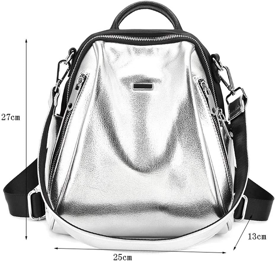 NJ Backpack Color : Silver, Size : 25x13x27cm Cowhide Oxford Cloth Fashion Backpack 25x13x27cm