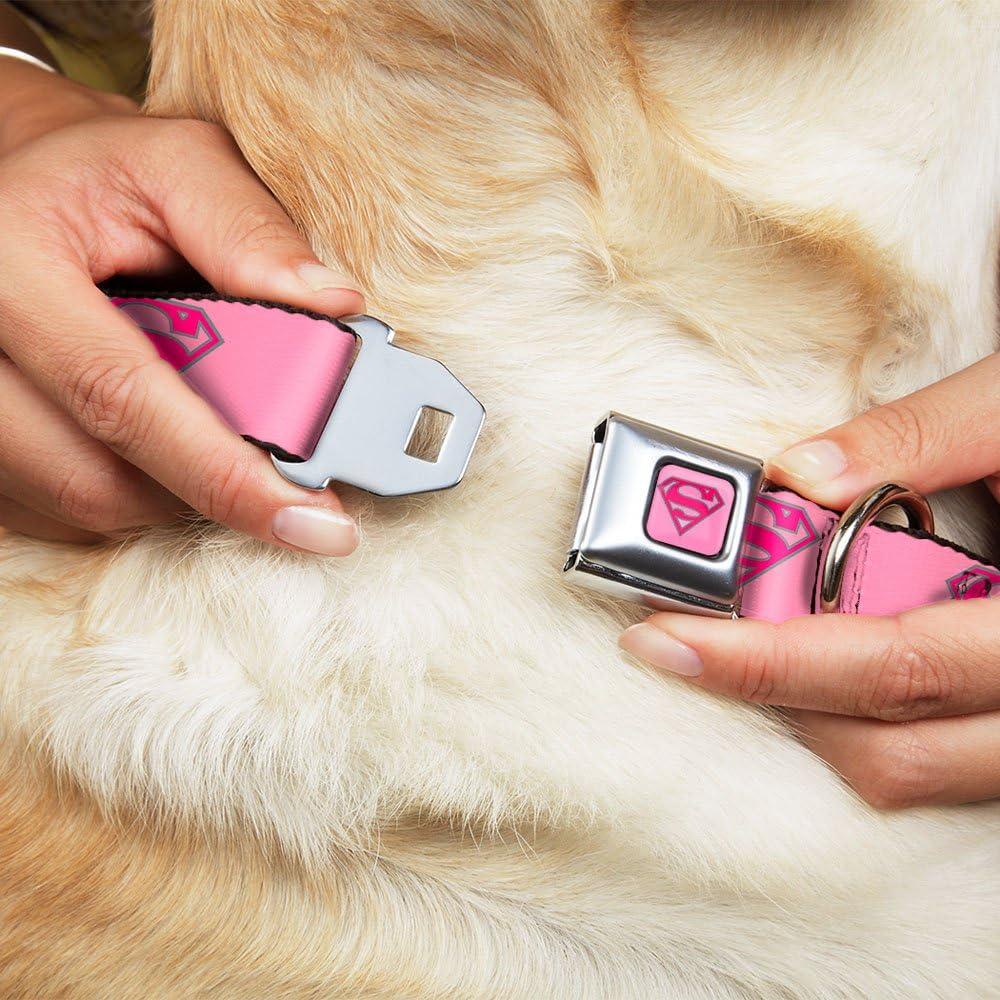 /38,1/cm Superman Shield Pink Dog Collar Buckle Down 9/