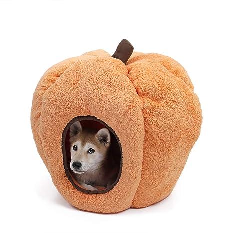 Speedy - Caseta para perros y gatos en forma de calabaza de Halloween con forro polar suave y cojín extraíble, antideslizante y duradera, para ...