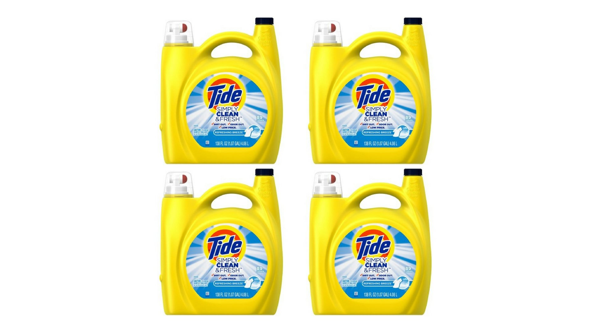 Tide Simply Clean & Fresh HE Liquid Laundry Detergent, Refreshing Breeze Scent 138 fl oz per bottle set of 4 by Tide