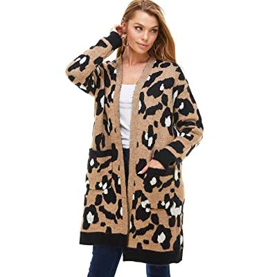 A+D Womens Open Front Leopard Cardigan - Contrast Print Long Sweater w/Pockets (Mocha, Medium/Large) at Amazon Women's Clothing store