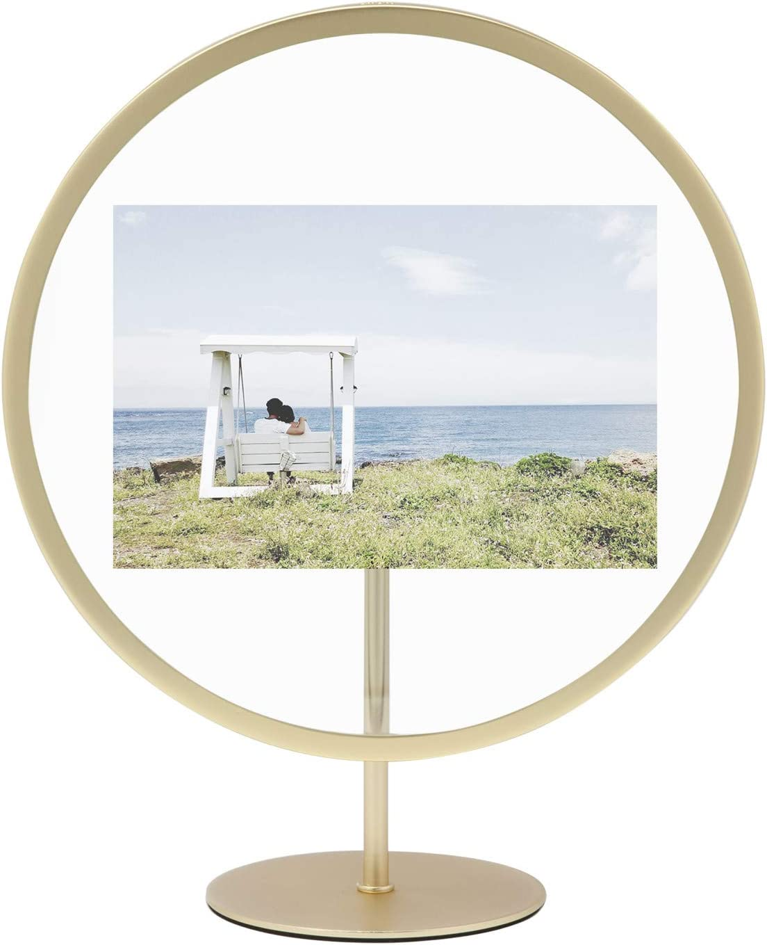 Umbra Infinity Picture Frame, Floating Photo Display for Desk or Wall, 4X6, MAT Bras