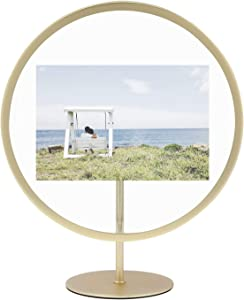 Umbra Infinity Round 5x7 Picture Frame, Floating Photo Display for Desk or Wall, Brass