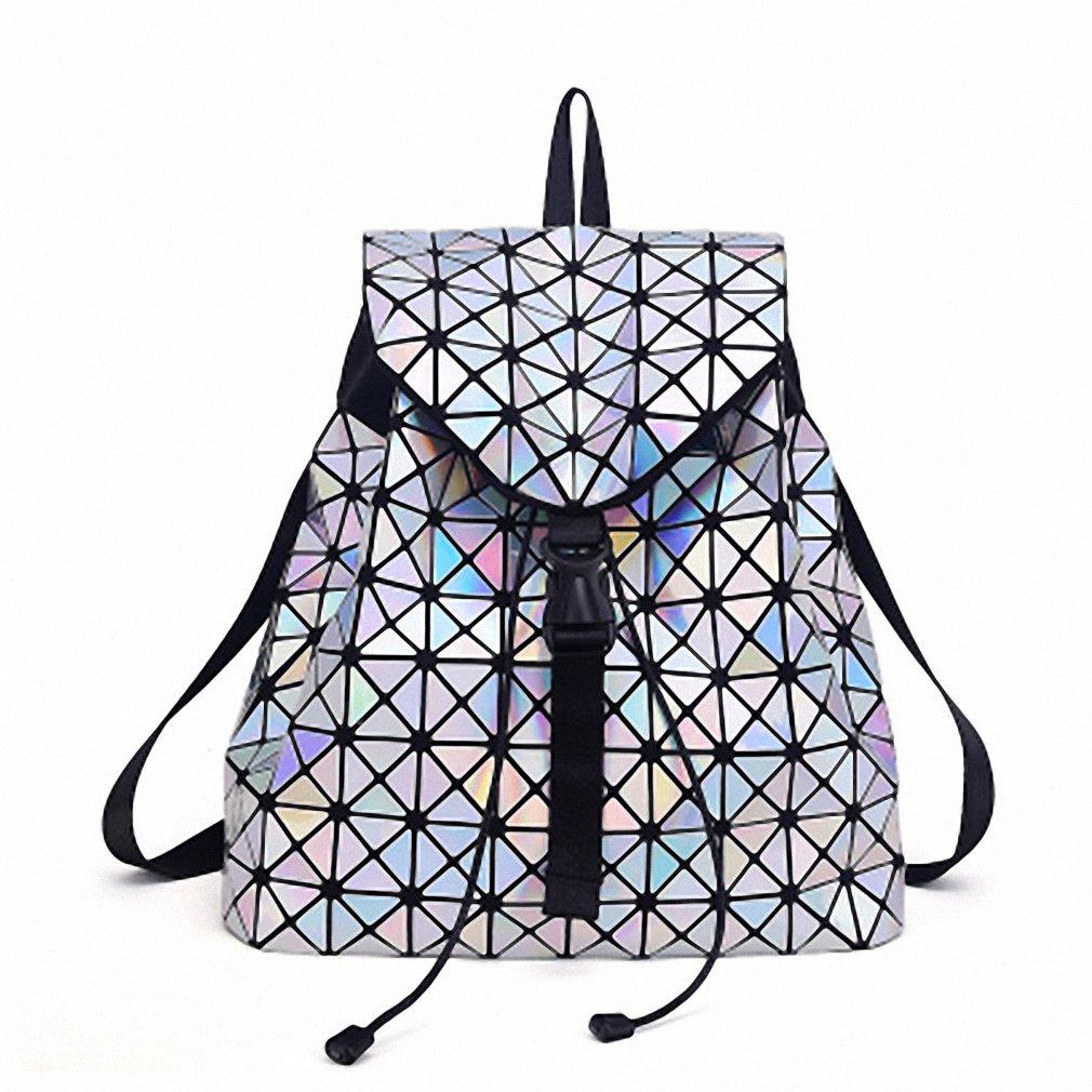 Luminousバックパックメスファッション女の子デイリーバックパックジオメトリパッケージスパンコール折りたたみバッグBao Bao学校バッグ Colorful B073XF1DGN  カラフル