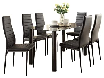 Amazon.com - Feister Ultra Modern 7PC Dining Set Table Glass ...