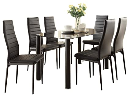 bf5ddad3d6 Image Unavailable. Image not available for. Color: Feister Ultra Modern 7PC  Dining Set Table Glass Top, 6 Chair in Black