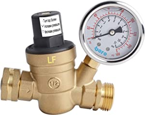 Hydro Master 0571310 Water Pressure Regulator, Lead Free Brass Valve with Gauge for RV Camper, Pressure Range 0-160PSI / 0-11Bar