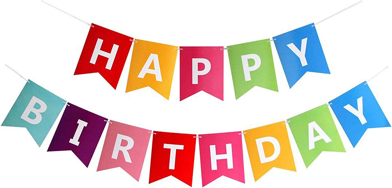 Amazon Com Fecedy Colorful Happy Birthday Banner Bunting Health Personal Care