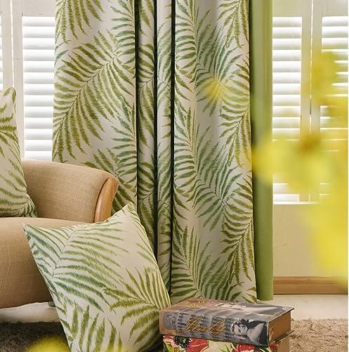 MYRU Pastoral Flower Blackout Curtains,Tropic Window Draperies,Nice Room Decor 1 x 54 Width 84 Length, Leaves