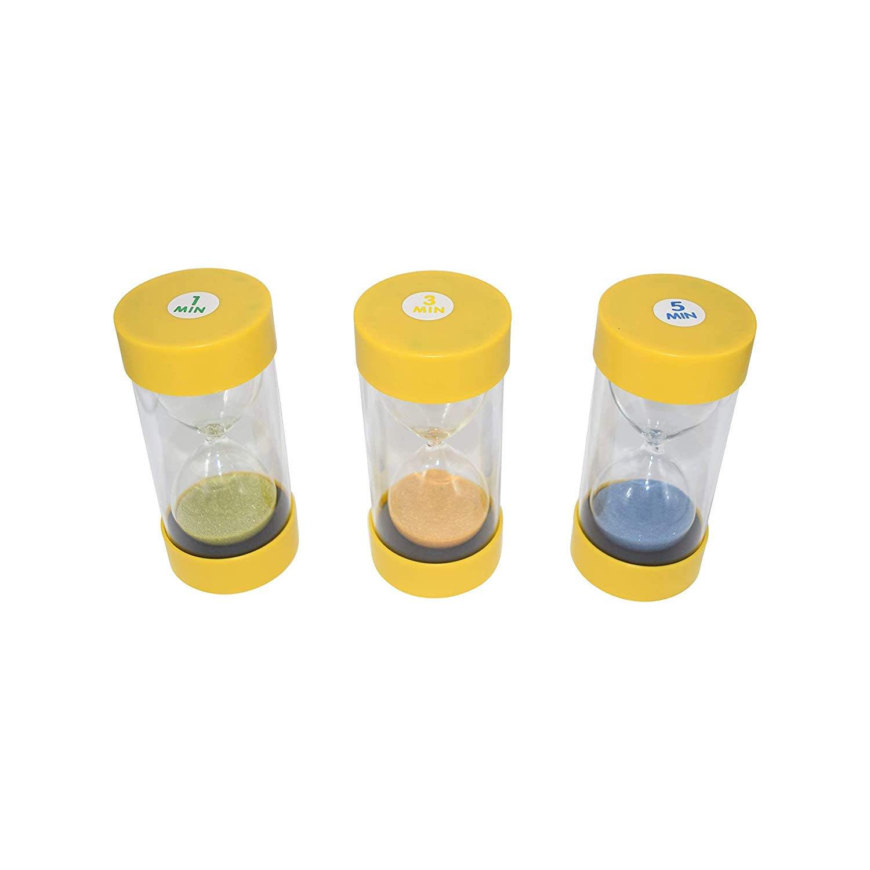 Sensory Hourglass 1 Ballotini Glass Sand Timers 3 Pack 3 and 5 Minute Timer