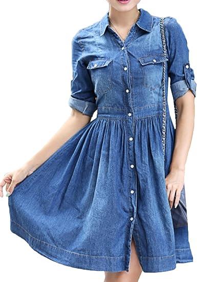 Scothen Damen Jeanskleid Hemdblusenkleid Tunika Jeans Bluse Frühling