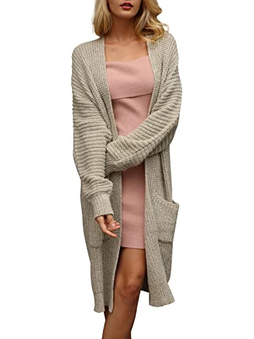 5ee5fca297 Simplee Women s Casual Open Front Long Sleeve Knit Cardigan Sweater Coat  with Pockets