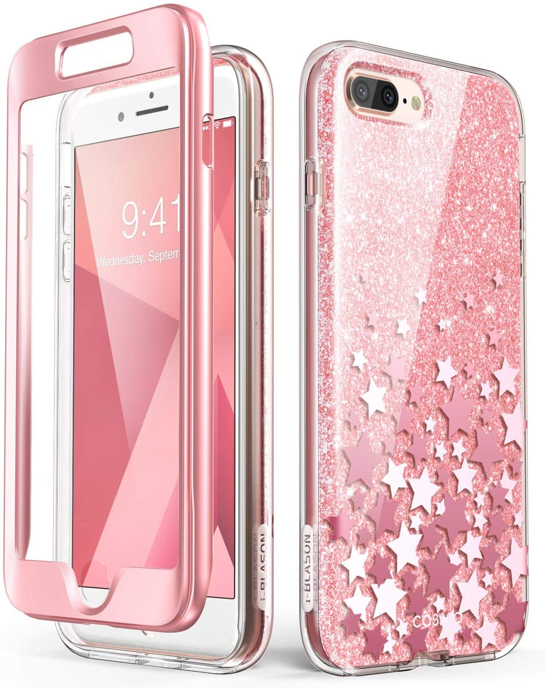i-Blason iPhone7/8Plus-CosmoV2-SP-Pink Cosmo Glitter Clear Bumper Case for iPhone 8 Plus/iPhone 7 Plus, Pink