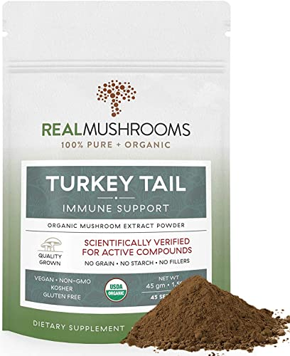 Organic Turkey Tail Mushroom Extract Powder by Real Mushrooms – Immune Booster – 45g Bulk Powder Supplement – Perfect for Shakes, Smoothies, Coffee and Tea