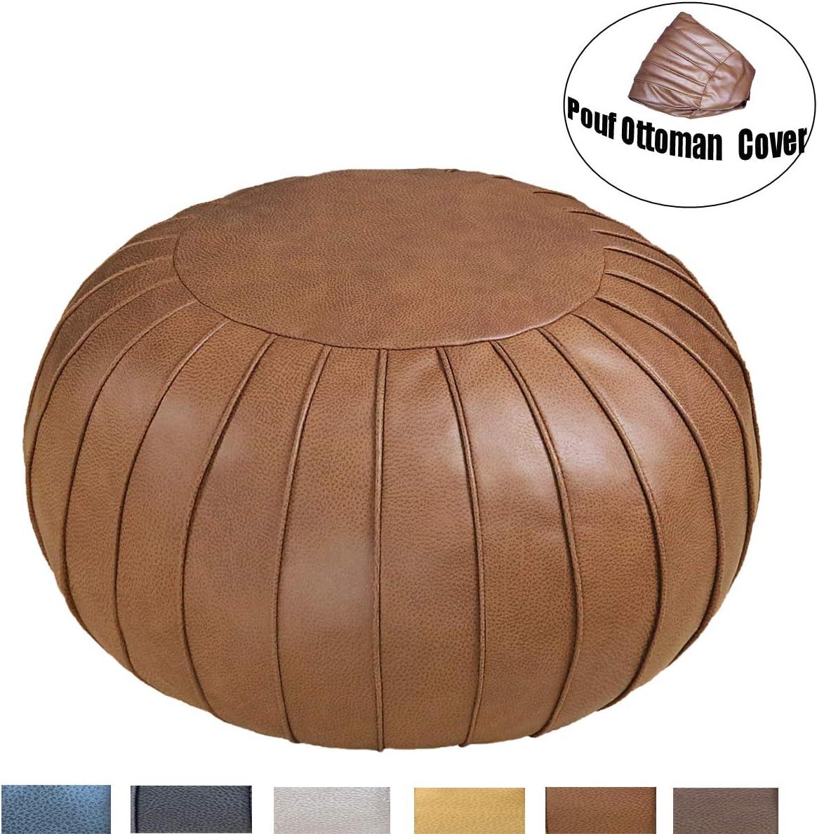Thgonwid Handmade Suede Pouf Footstool Ottoman Faux Leather Poufs 23